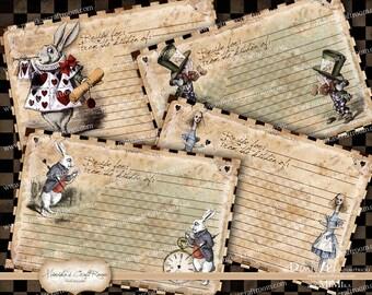 Alice in Wonderland Recipe Cards - Set of 4 Instant Download Digital Collage Sheet Printable Cards Scrapbook Paper Decoupage