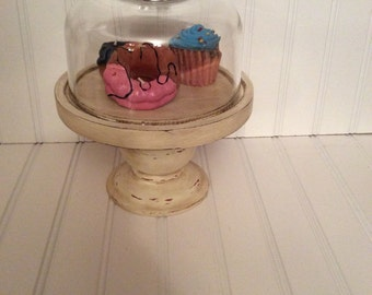 Cloche/ painted display cloche/ dessert stand/ candle holder/ display stand/ vintagebrowns/ cheese cloche