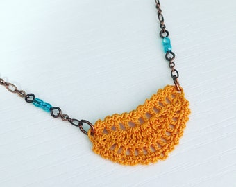 Mini Addison Crochet Necklace in Harvest Gold, Lace Doily Pendant, Mustard Yellow Necklace, Gift Under 50, Boho Fashion, Hippie Style