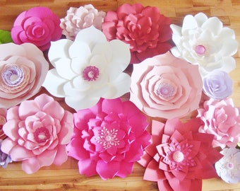 Set of 15 Paper Flowers - Baby Nursery | Flower Wall | Home Decor | Wedding Backdrop | Photo Booth | Little Girls Room | Baby Shower