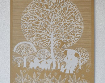 Tree of Life, Hand-Pulled Limited Edition Screenprinted Poster. White on Brown. 100% Made in the USA.