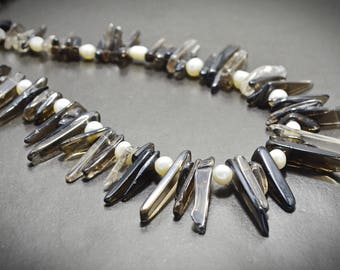 Brown White Genuine Smoky Quartz Freshwater Pearl Statement Beaded Boho Necklace, Ethnic Natural Gemstone Healing Necklace Gift for Mom