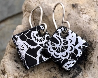 Little Dichroic Glass & Sterling Silver Earrings Black and Silver