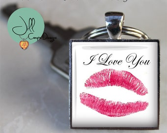 YOUR KISS PRINT - Lip print keychain - personal kiss print and saying on a keychain - Gift for Husband, Boyfriend, girlfriend, actual kiss