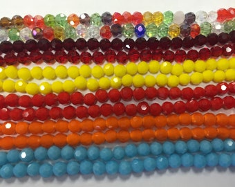 Round crystal beads,glass, 36 cut faceted, 6mm, 45beads