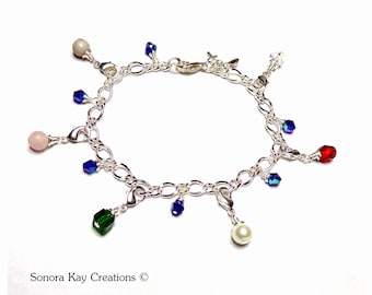 Silver Plated Purity Charm Bracelet/  Detachable Charms/ Gemstone and Glass/ Custom Made to Order/ Sweet Sixteen/ Gift Idea for Tween Girl