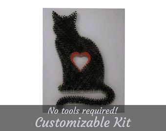 Cat Love, String Art Kit, Craft Kit, String Art Picture Frame, Pets, Kitten, Kitty, Cat, Wood Wall Decor, Wall Decor