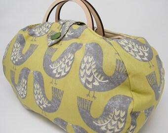 Large project bag. Bird fabric knitting bag.