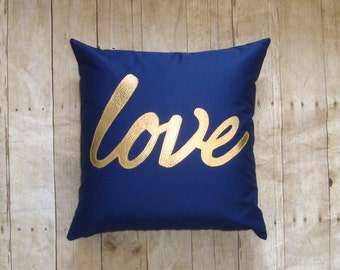 Love Pillow Cover, Blue and Gold, Gold pillow, Metallic love, love pillow, gold writing, metallic gold pillow, Love Decor
