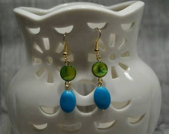 """Earrings """"Pearl and turquoise"""""""