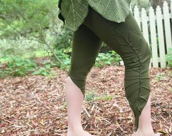 Textured Leaf Leggings - 3/4 Length - Forest Fairy - Pixie Leggings - Elf Leaf - Fairy Leggings - Organic Fabric