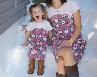Tulipa & Allium Dolman Girls and Women's PDF Pattern Bundle, Mommy and Me Sewing Pattern knit top dress pattern 12m-8, XXS-3XL