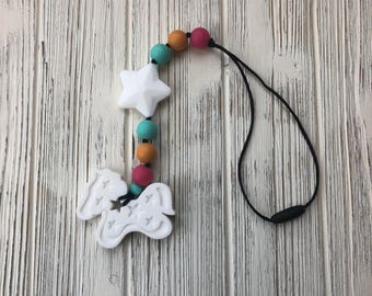 Pony Teether, Horse Teether, Stroller Toy, Baby Chew Toy, Silicone Teether, Sensory Toy, Stroller Teether, Chewelry, Babywearing Accessory