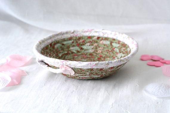 Shabby Chic Basket, Handmade Candy Dish Bowl, Shabby Chic Key Basket, Ring Dish Bowl, Green Desk Accessory, Unique Basket