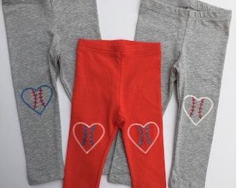 Baseball Heart Leggings Softball Hand Painted Childrens Leggings Custom Toddler Leggings Womens Leggings