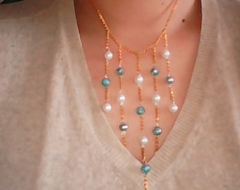 blue white necklace