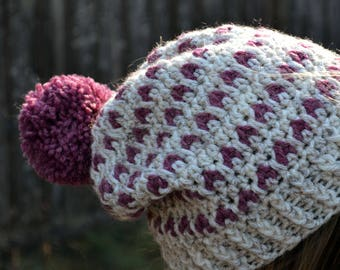 Raspberry tart, crochet beanie, hat women, slouchy hat,  boho hat, beanie, fashion women, crochet fashion, crochet cloche hat, tam, pink hat