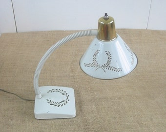 Vintage Metal Desk Lamp Gooseneck White Antique Gold