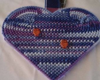 Purple and blue heart with owls on it