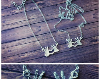 Heart with Hands Necklace & Bracelet Set