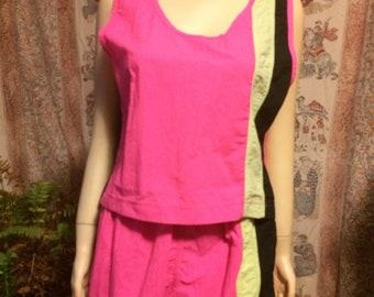Vintage neon nylon shorts and tank top set