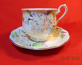 "One (1), 2 3/4"", Footed Teacup & Saucer, from Royal Albert China, in the Flower of the Month Series, (Older Hampton Design), Hawthorne."