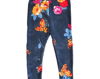 Spandex blue and floral leggings
