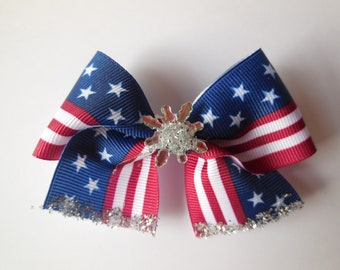 4th of July Hair Bow, Memorial Day, clip on, Independence day, hair bow, red, white, blue, hair accessories, for girls, patriotic bow