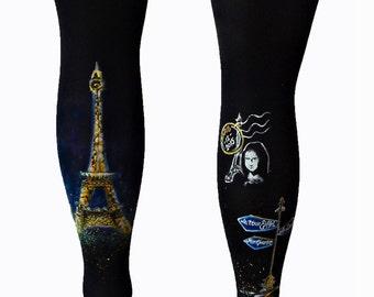 Paris Leggings, Mona Lisa Leggings, Hand Painted Tights, Eiffel Tower, Postmark, Black Leggings, Paris Illustration