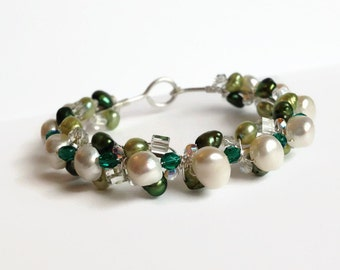 Pearl and Crystal Wire Bangle Bracelet - Green Bracelet - Crystal Bangle