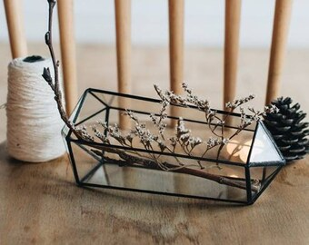 Glass Geometric Terrarium / Stained glass terrarium/ Glass Florarium / Home Decor / Glass decoration