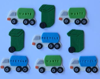 12 edible GARBAGE TRUCKS & BINS rubbish cake decoration cupcake topper decoration party anniversary birthday engagement valentine