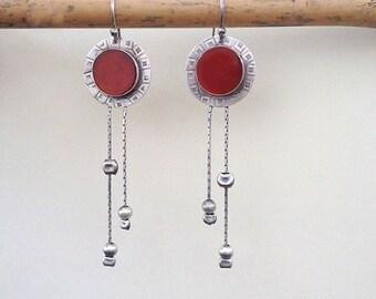 Lange Ohrringe, Sterling Silberohrringe, Karneol, rote Ohrringe, baumeln Ohrringe, Tribal Silber Schmuck, ethnischen Juwel