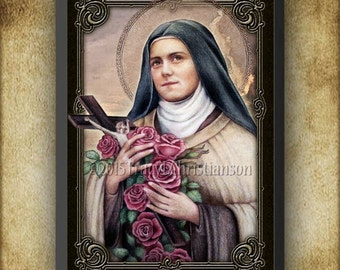 St. Therese of Lisieux (C) Wood Plaque and Holy Card GIFT SET #3171