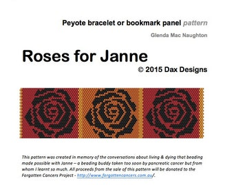 Roses for Janne Peyote beaded cuff bracelet or bookmark: Instant Downloadable Pattern PDF File