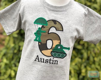 Tank Birthday Shirt - Paratrooper Birthday Shirt - Army Birthday Shirt - Camo Shirt - Army Birthday Party - Personalized Shirt - Toy Soldier
