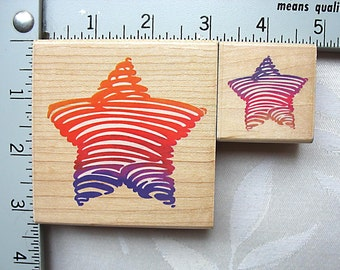 Stampendous Bold Star Stripe DESTASH Rubber Stamp, Used Rubberstamp, set of two LG and SM