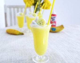 Miniature Banana MILKSHAKE Topped with Whipped Cream, Banana Slice, and Yellow Straw - Realistic Food for 1:6 Scale Fashion Dolls & Figures