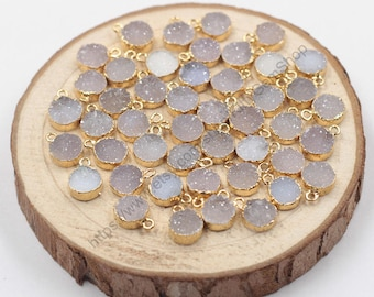 Wholesale 8mm Tiny Round Agate Druzy Pendants -- With Electroplated Gold Edge Druzzy Drusy Geode Dainty Charms Supplies Handmade CQA-001