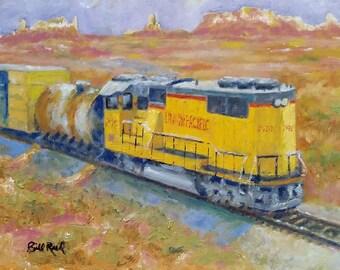 South West Union Pacific - original railroad oil painting