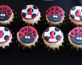 12 Ladybug Fondant Cupcake Toppers