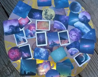 45 stickers different constellations, stamps, round, square theme