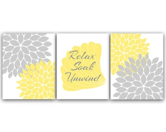 Bathroom Wall Art, Relax Soak Unwind CANVAS PRINTS, Yellow & Gray Bathroom Decor, Modern Bathroom Art, Set of 3 Bath Art Prints - BATH31