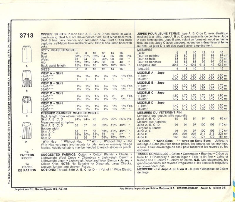 McCalls 3713 Misses Set of 4 Cute Skirts Vintage Sewing Pattern ...