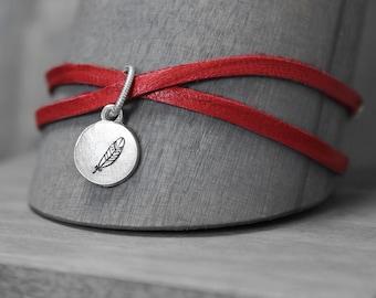 Red Leather Bracelet, Wrap Bracelet, Feather Bracelet, Leather Charm Bracelet, Handstamped Bracelet, Hand Stamped Bracelet, Boho Bracelet,