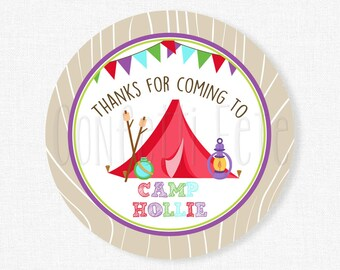 Camping Favor Tags, Glamping Favor Tags, Camping Party Tags, Thank You Tags, Glamping Tag, Girl Birthday Favors, Personalized