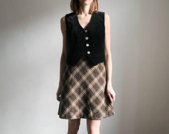 Vintage S/UK8 short A line tartan skirt