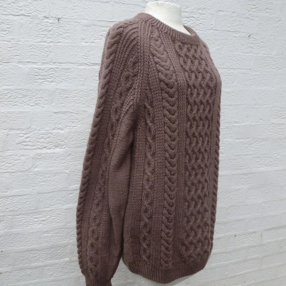 Sweater fishermans aran jumper cable 80s knit winter sweater vintage clothes oversized boyfriend chunky sweater mens gift brown wool jumper. TAYYpkZ