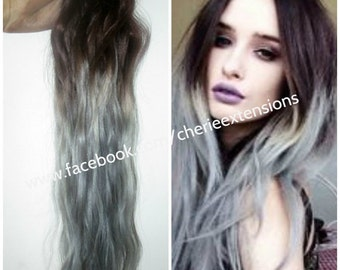 Balayage dip dye 8a remy ombre balayage human hair extensions balayage dip dye 8a remy ombre balayage grey human diy clip in hair extensions 22 solutioingenieria Image collections