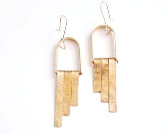 Hammered Mobile Fringe Earrings | Brass Earrings | 14k Gold Fill Earrings | Sterling Silver Earrings | Geometric Earrings